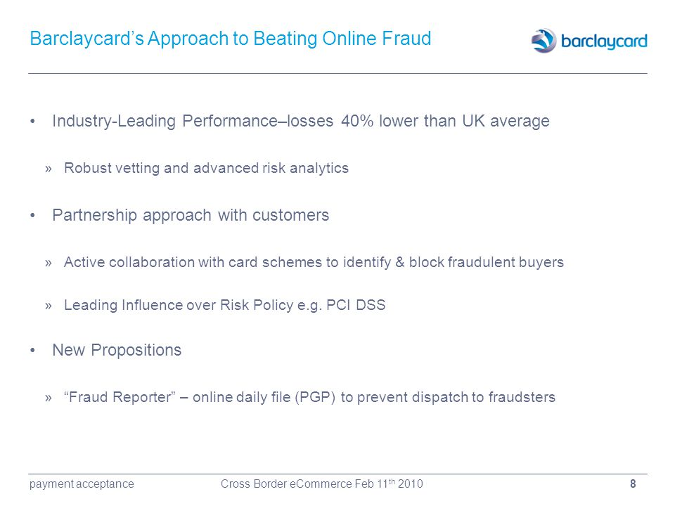 Barclaycard's Approach to Beating Online Fraud