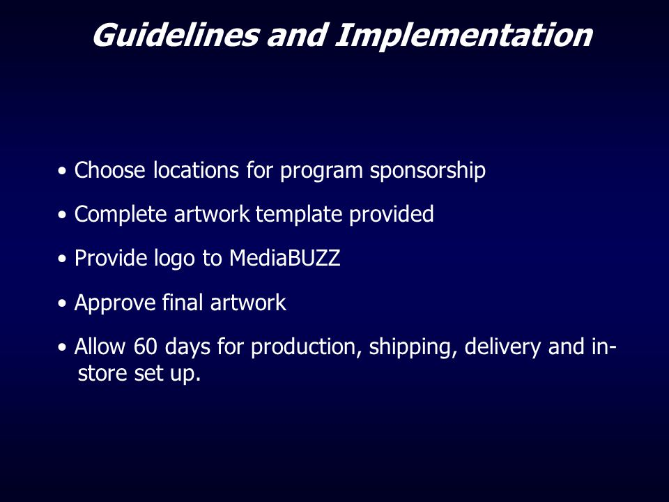 Guidelines and Implementation