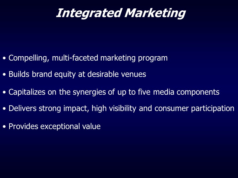 Integrated Marketing Compelling, multi-faceted marketing program
