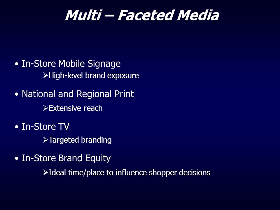 Multi – Faceted Media In-Store Mobile Signage