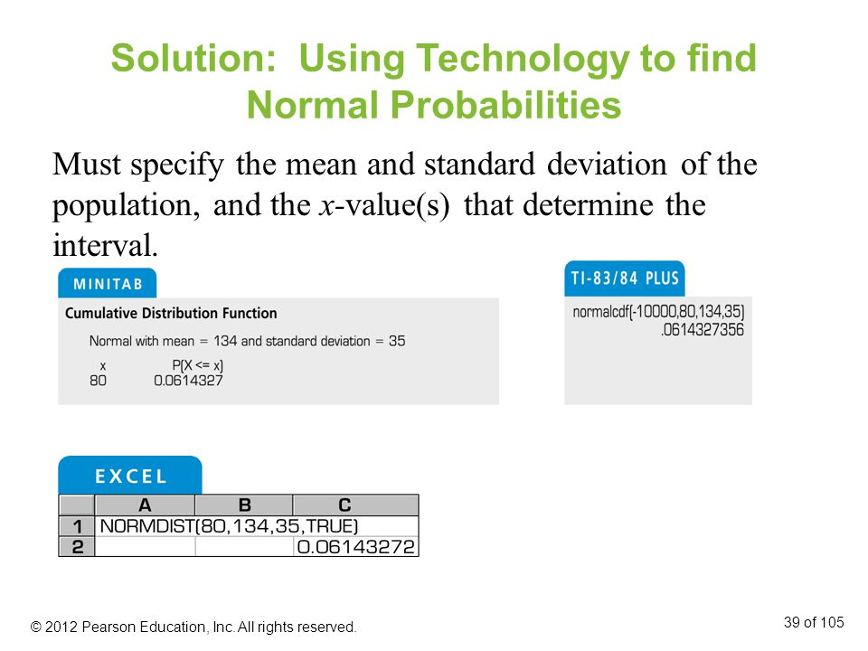 Solution: Using Technology to find Normal Probabilities