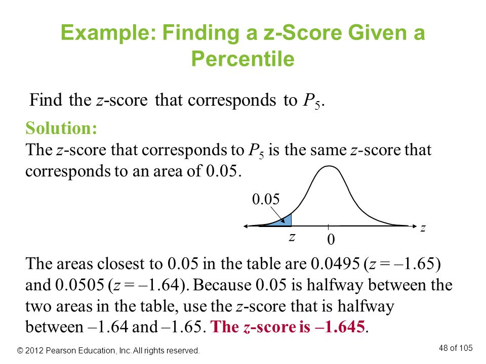 Example: Finding a z-Score Given a Percentile
