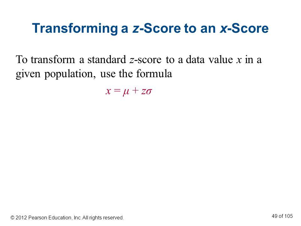 Transforming a z-Score to an x-Score