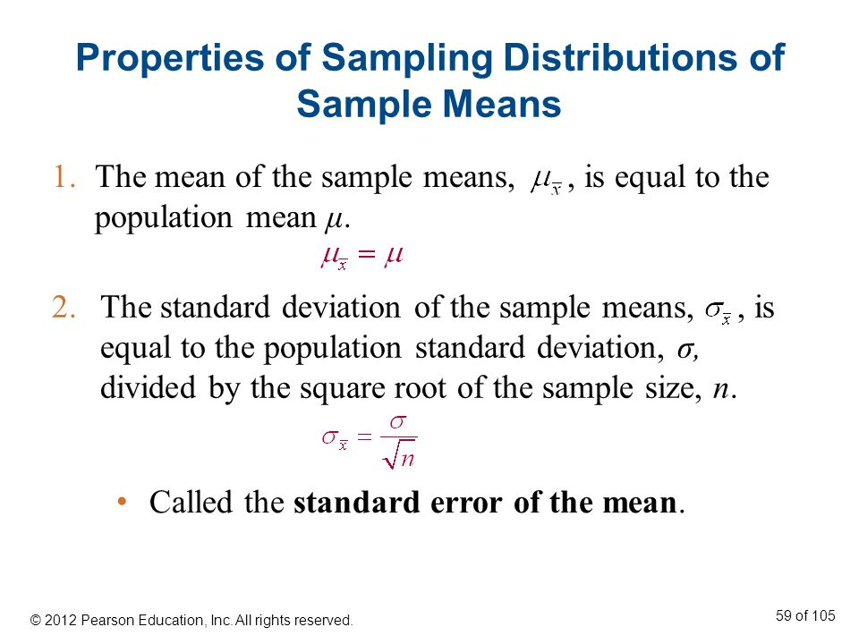 Properties of Sampling Distributions of Sample Means