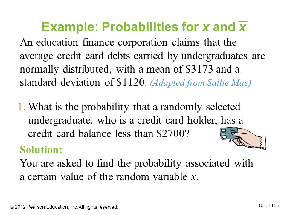 Example: Probabilities for x and x