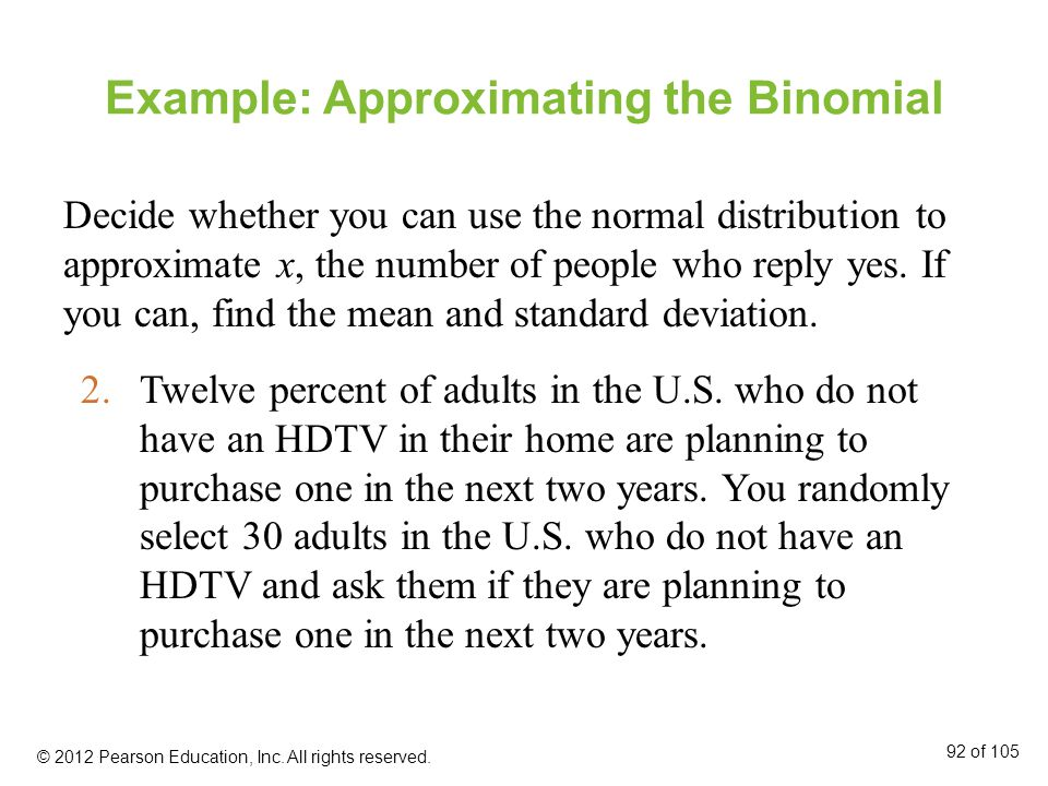 Example: Approximating the Binomial