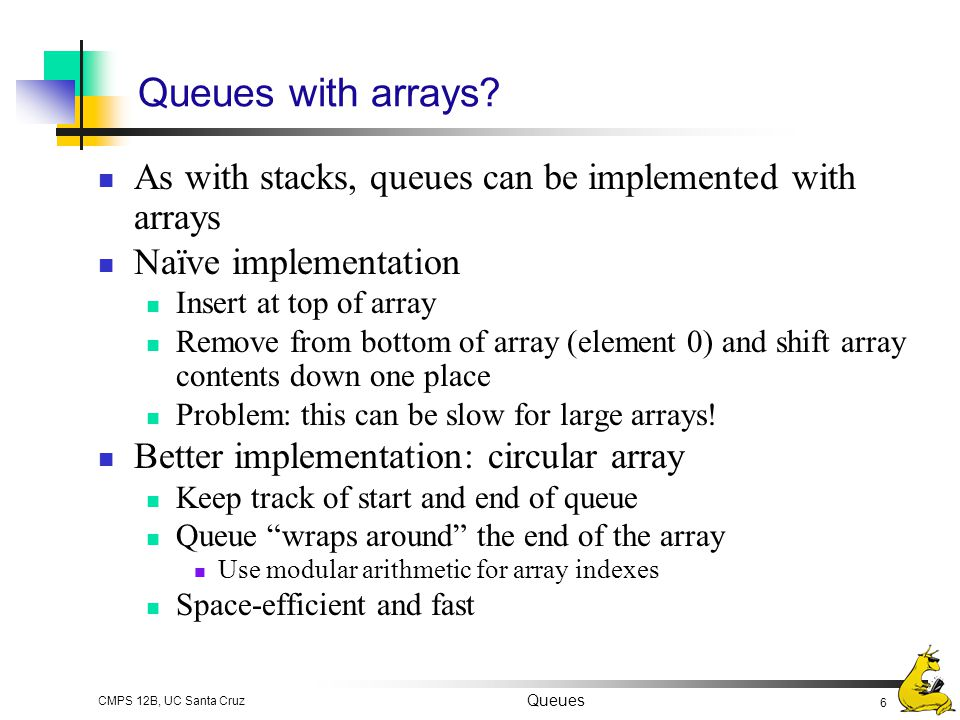 Queues with arrays As with stacks, queues can be implemented with arrays. Naïve implementation. Insert at top of array.