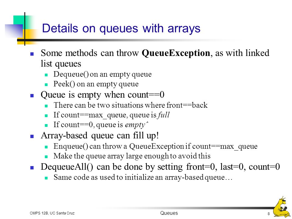 Details on queues with arrays