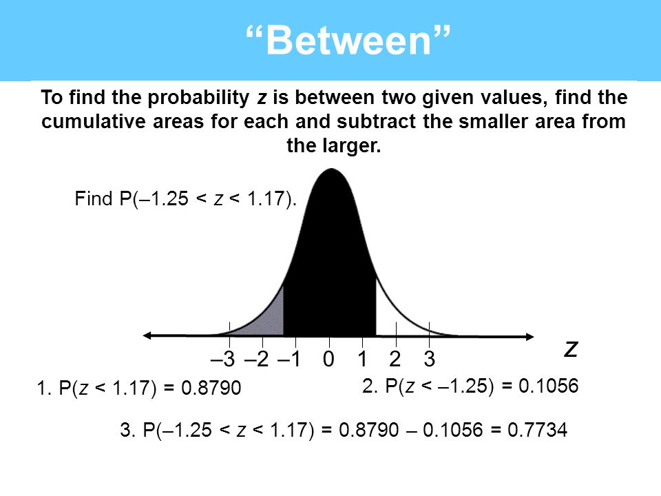 Between To find the probability z is between two given values, find the cumulative areas for each and subtract the smaller area from the larger.