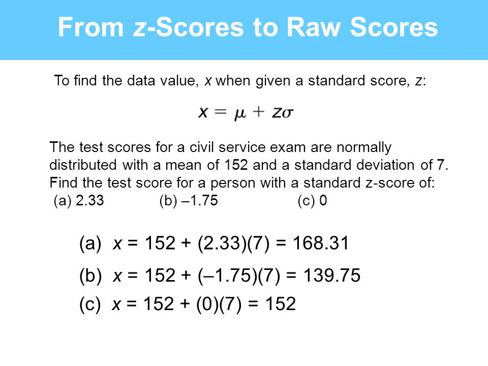 From z-Scores to Raw Scores