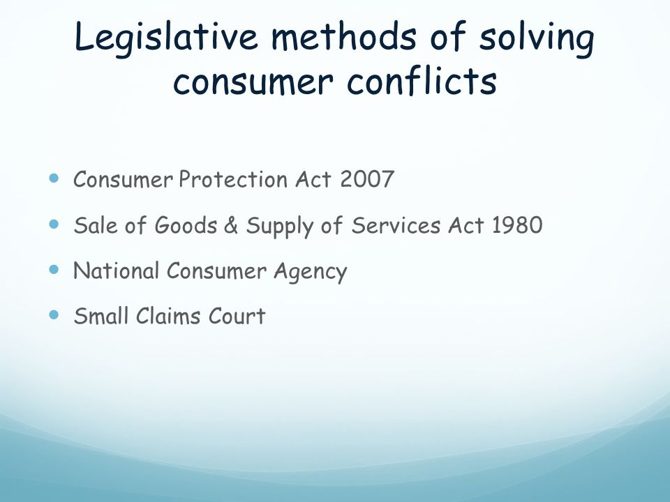 Legislative methods of solving consumer conflicts