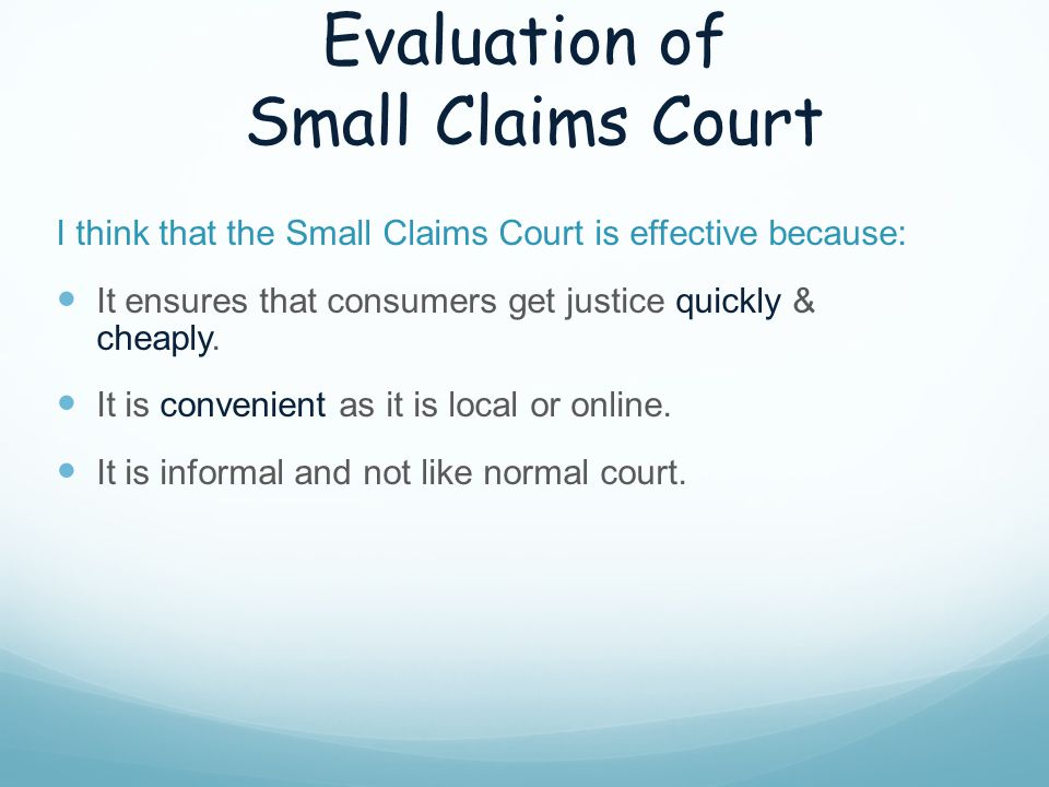 Evaluation of Small Claims Court