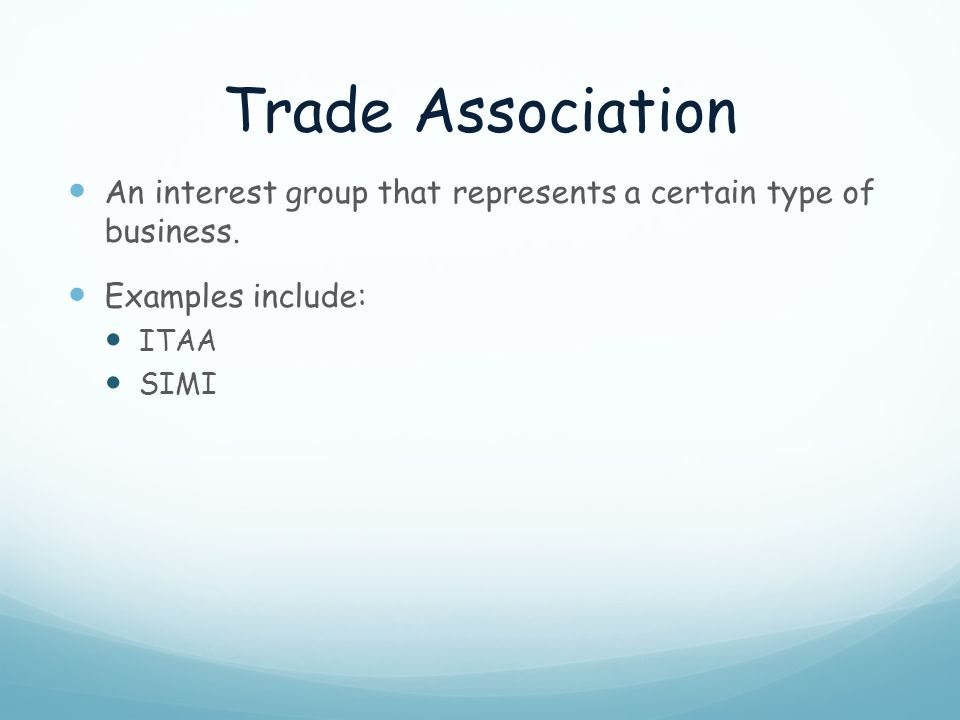 Trade Association An interest group that represents a certain type of business. Examples include: