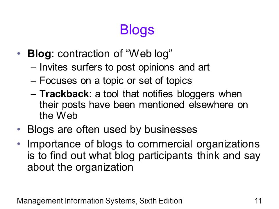 Blogs Blog: contraction of Web log
