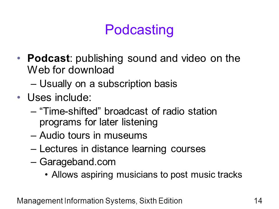 Podcasting Podcast: publishing sound and video on the Web for download
