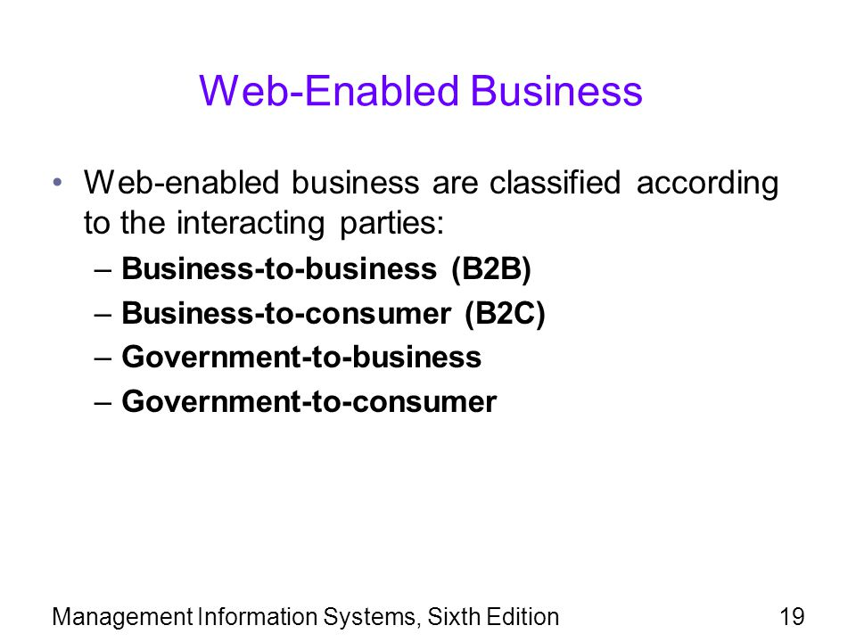 Web-Enabled Business Web-enabled business are classified according to the interacting parties: Business-to-business (B2B)