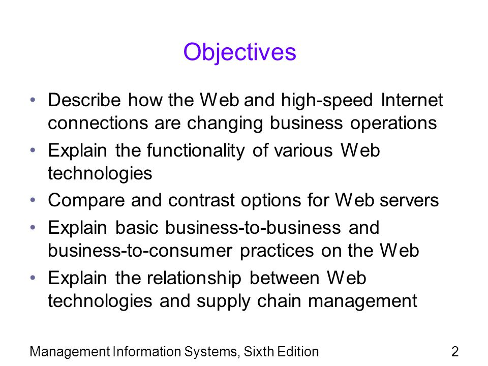 Objectives Describe how the Web and high-speed Internet connections are changing business operations.