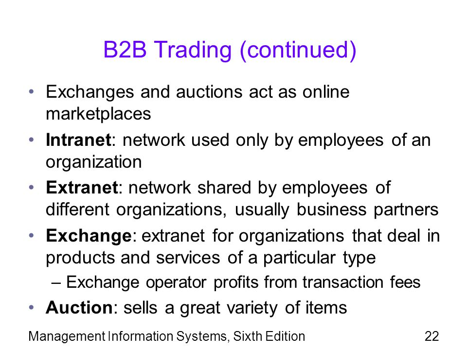 B2B Trading (continued)
