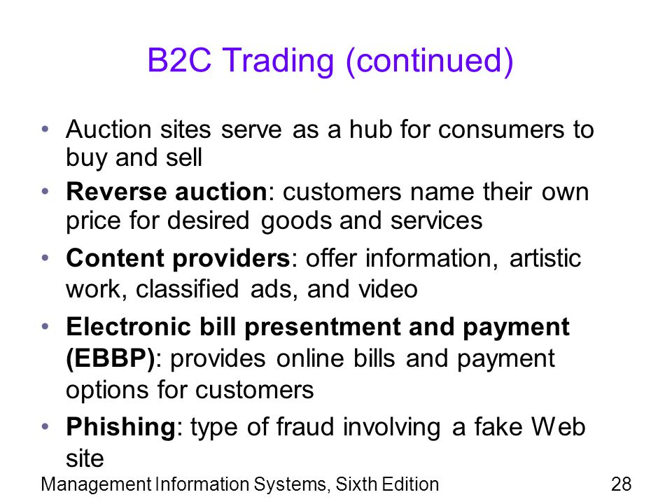 B2C Trading (continued)