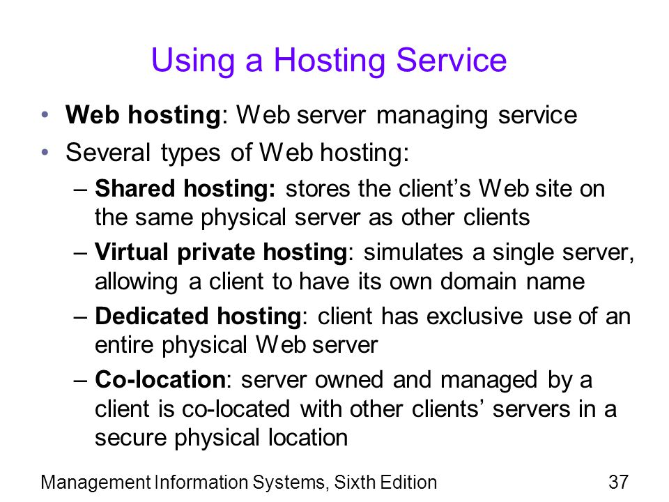 Using a Hosting Service