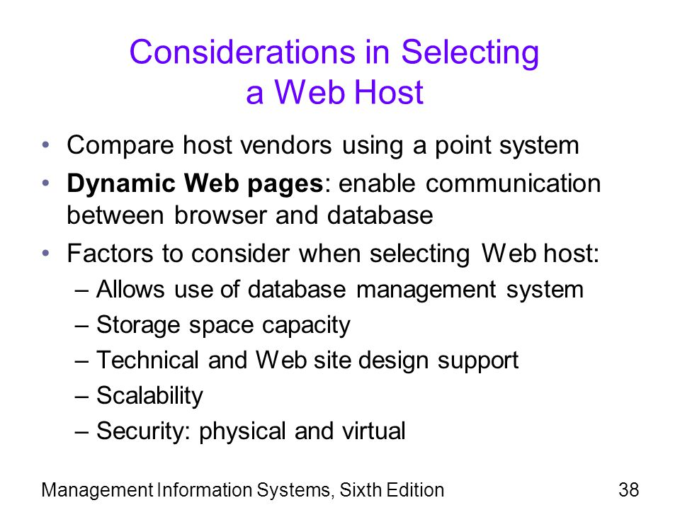 Considerations in Selecting a Web Host