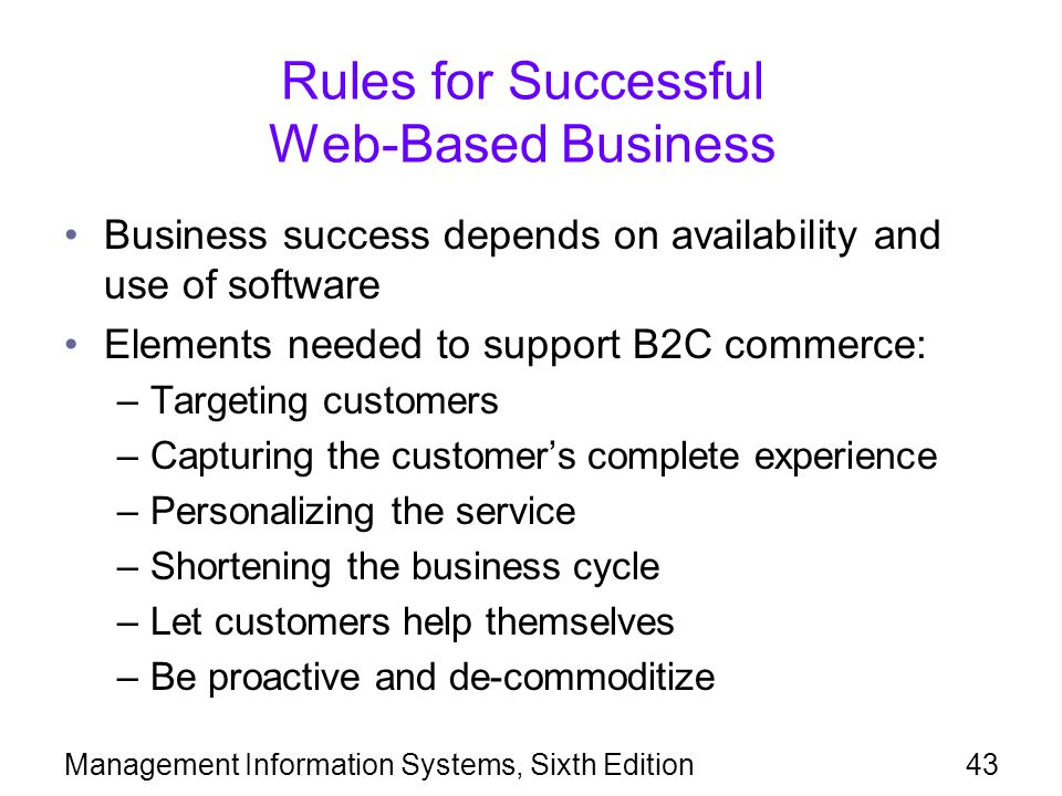 Rules for Successful Web-Based Business
