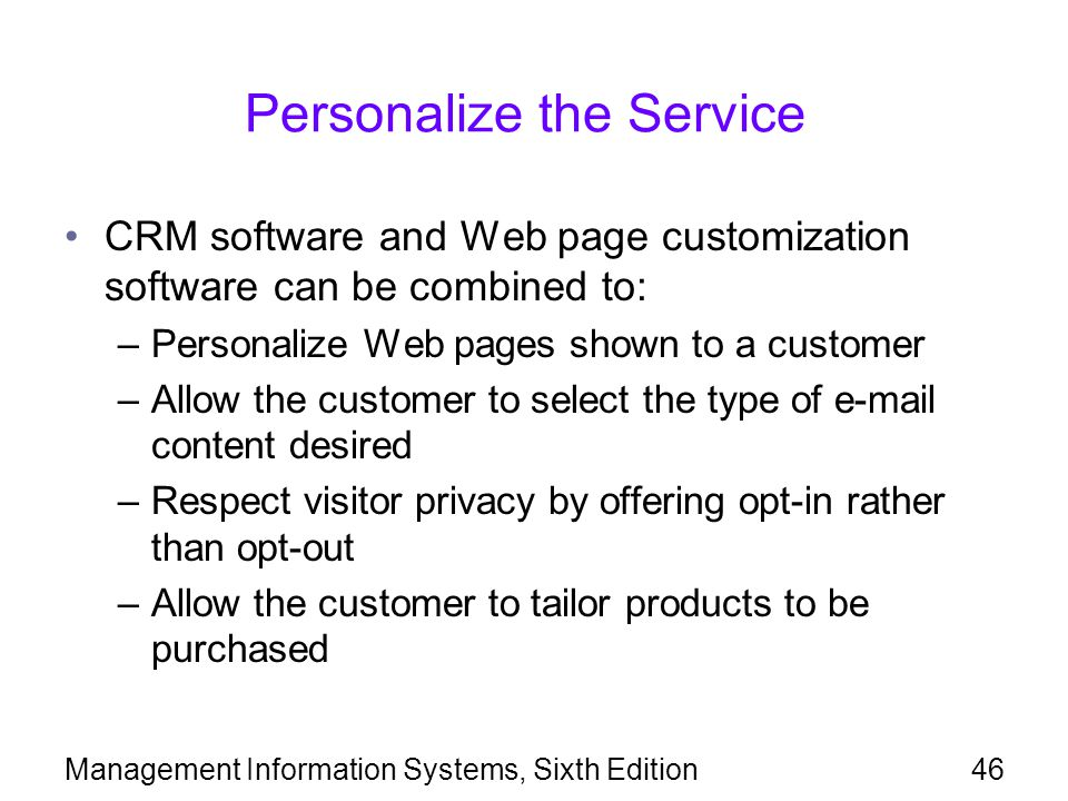 Personalize the Service
