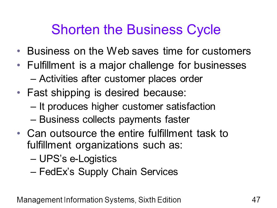 Shorten the Business Cycle