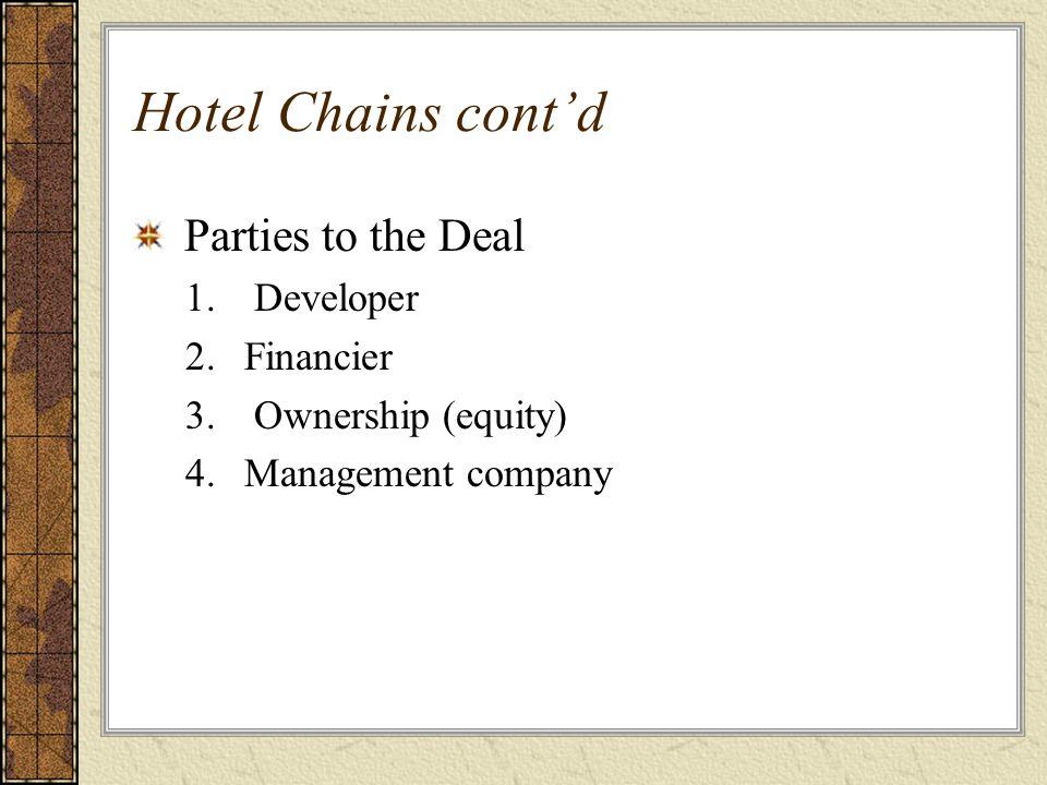 Hotel Chains cont'd Parties to the Deal Developer Financier