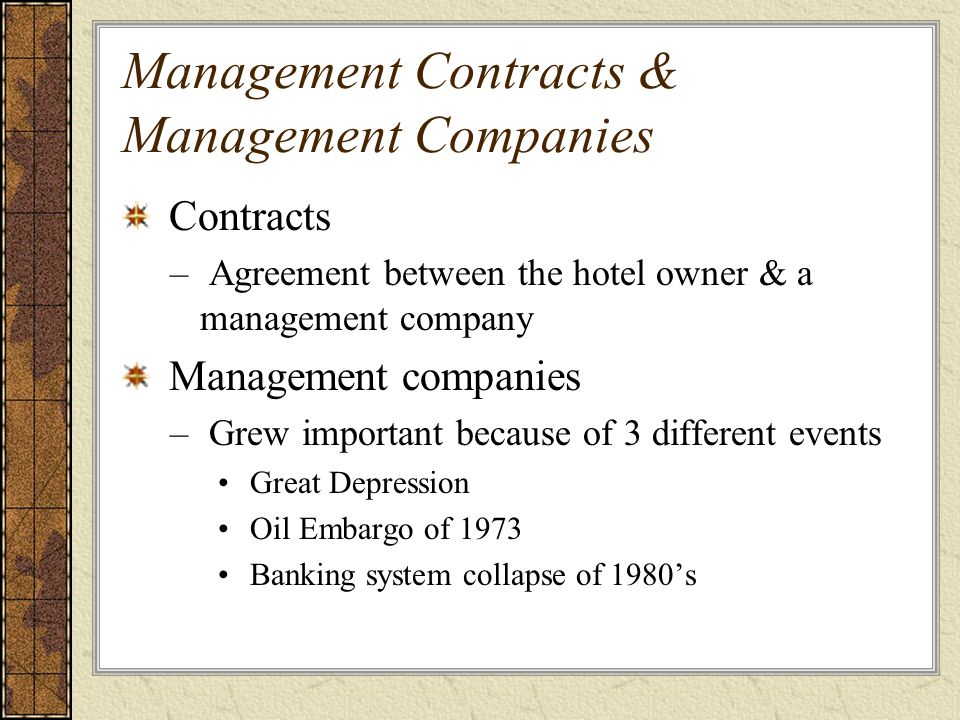 Management Contracts & Management Companies