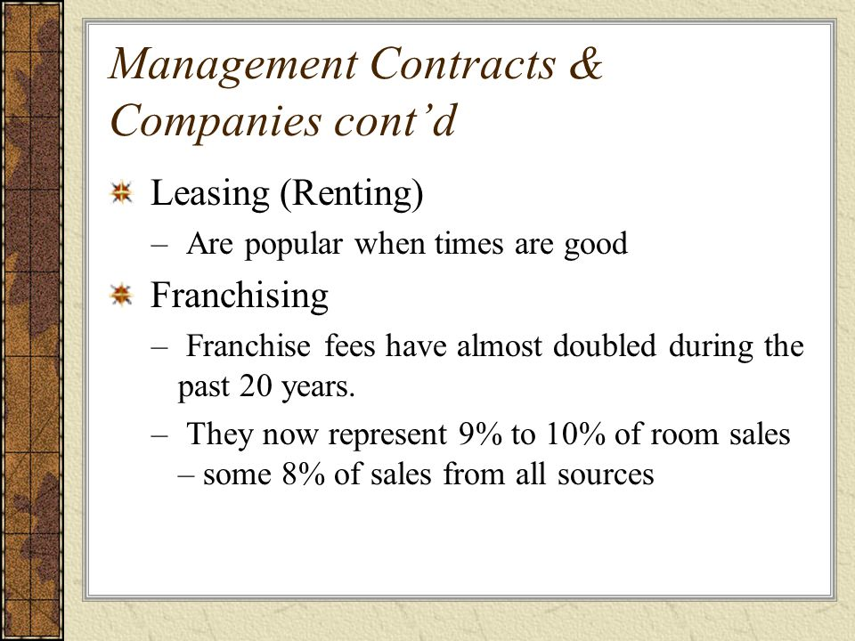 Management Contracts & Companies cont'd