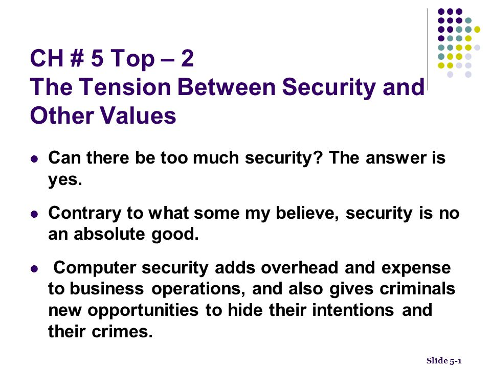 CH # 5 Top – 2 The Tension Between Security and Other Values