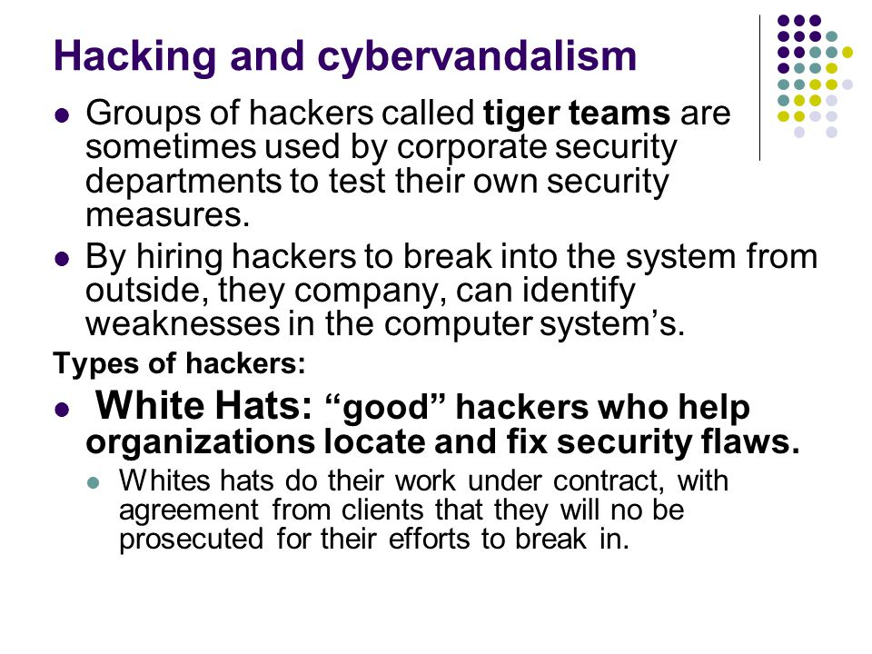 Hacking and cybervandalism