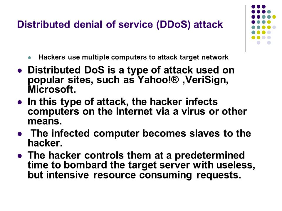 Distributed denial of service (DDoS) attack