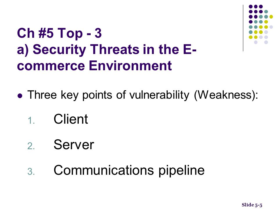 Ch #5 Top - 3 a) Security Threats in the E-commerce Environment