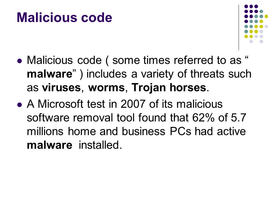 Malicious code Malicious code ( some times referred to as malware ) includes a variety of threats such as viruses, worms, Trojan horses.