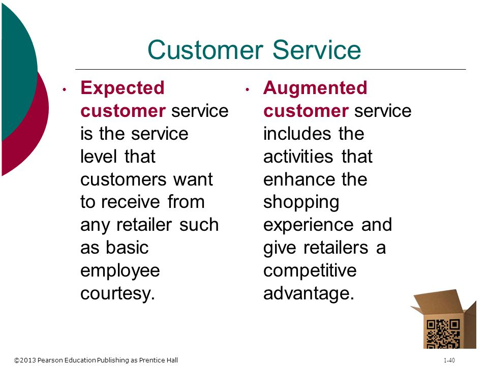 Customer Service Expected customer service is the service level that customers want to receive from any retailer such as basic employee courtesy.