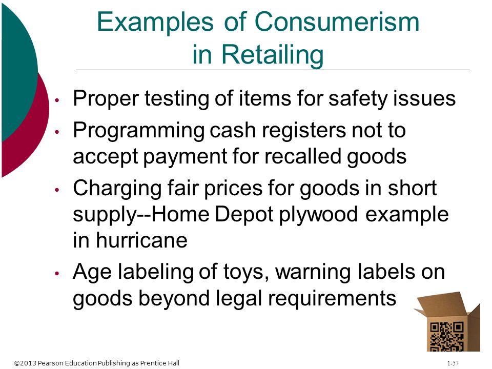 Examples of Consumerism in Retailing