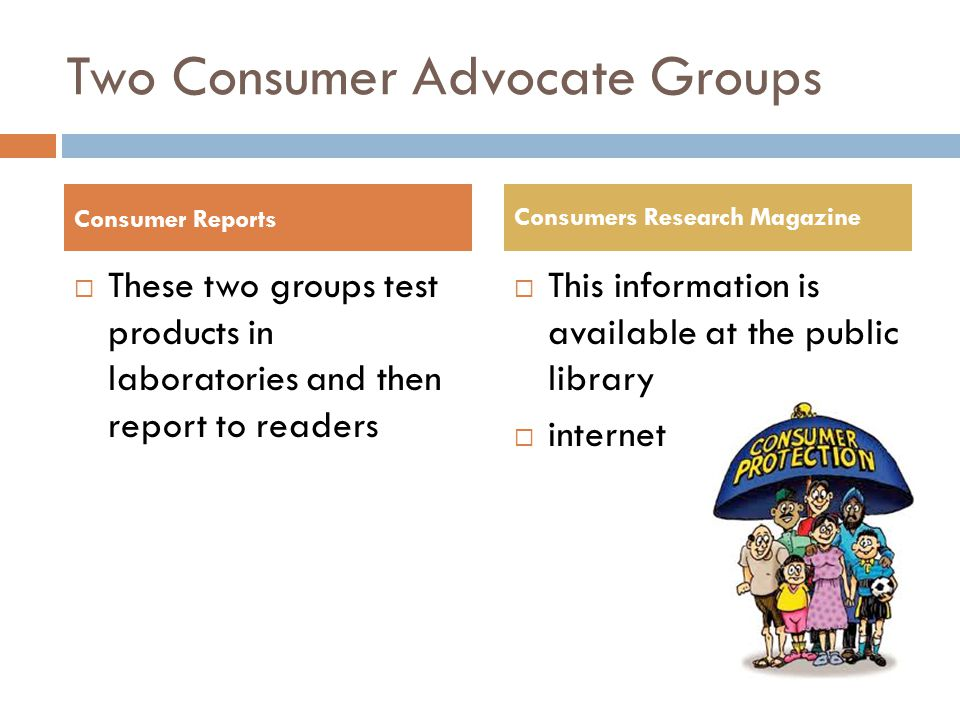 Two Consumer Advocate Groups
