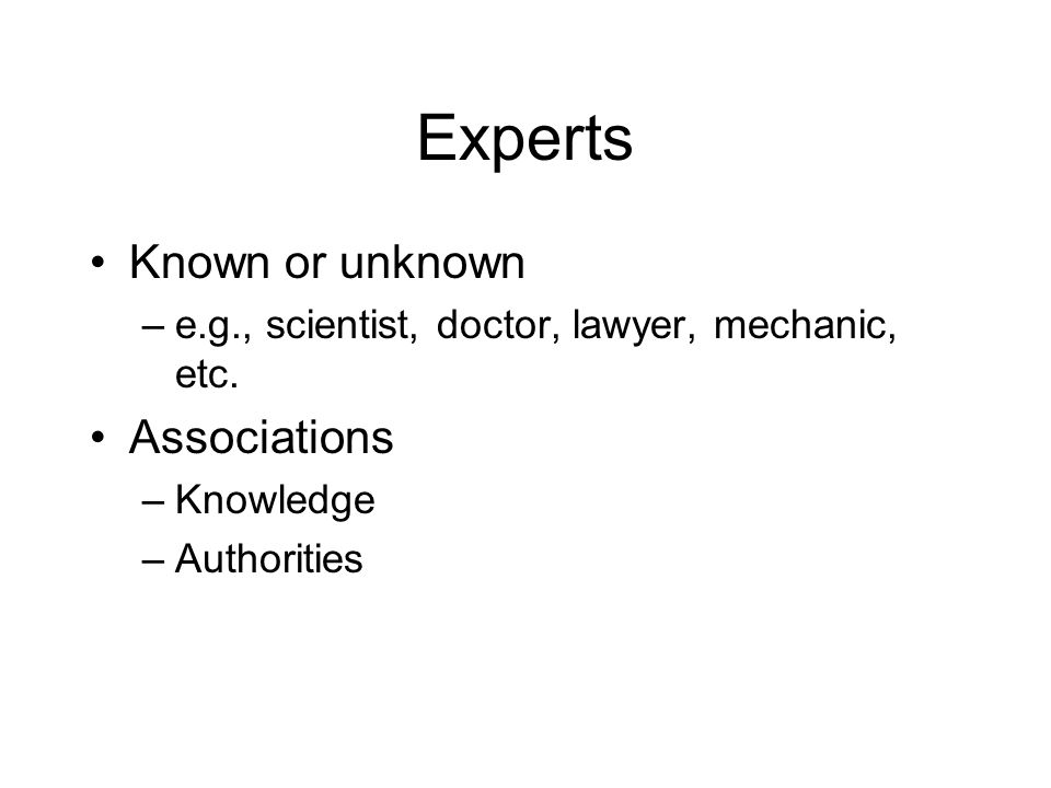 Experts Known or unknown Associations