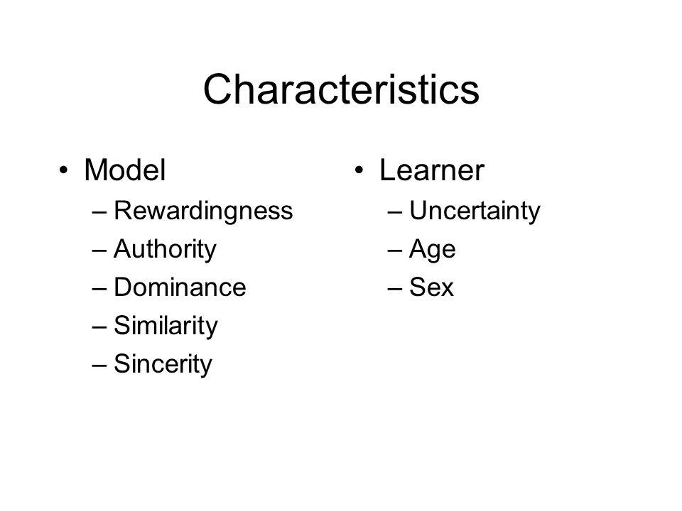Characteristics Model Learner Rewardingness Authority Dominance