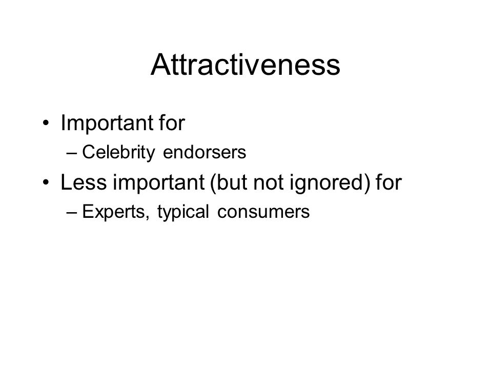 Attractiveness Important for Less important (but not ignored) for