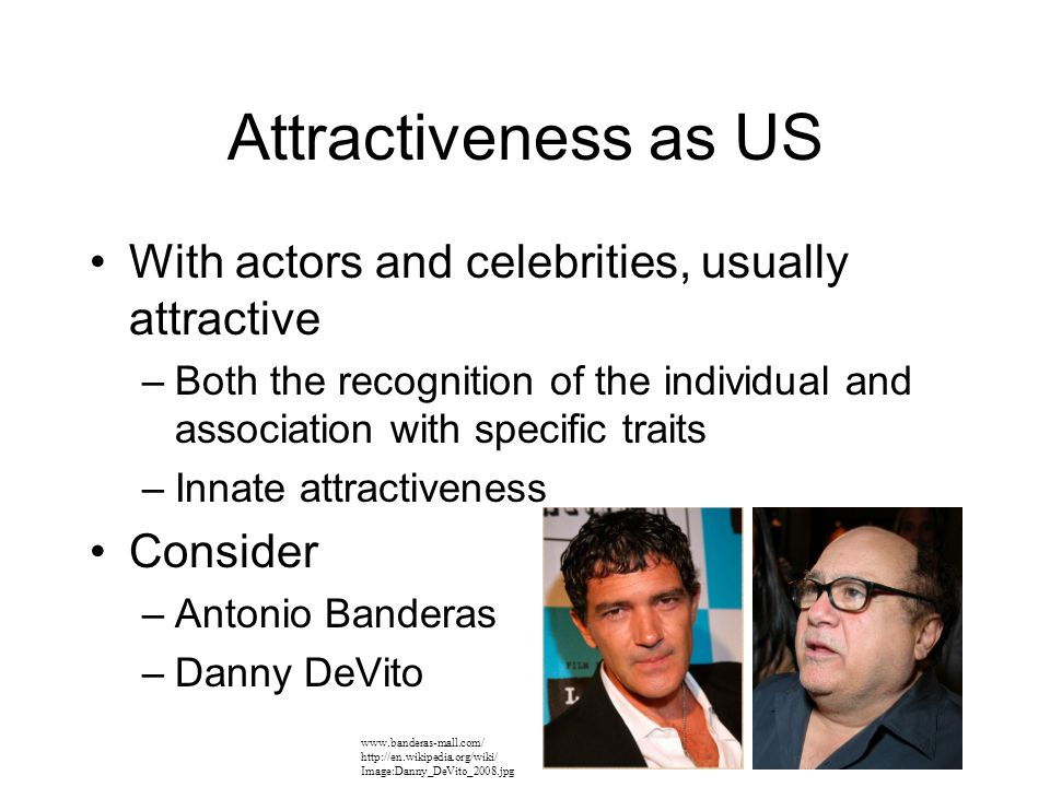 Attractiveness as US With actors and celebrities, usually attractive