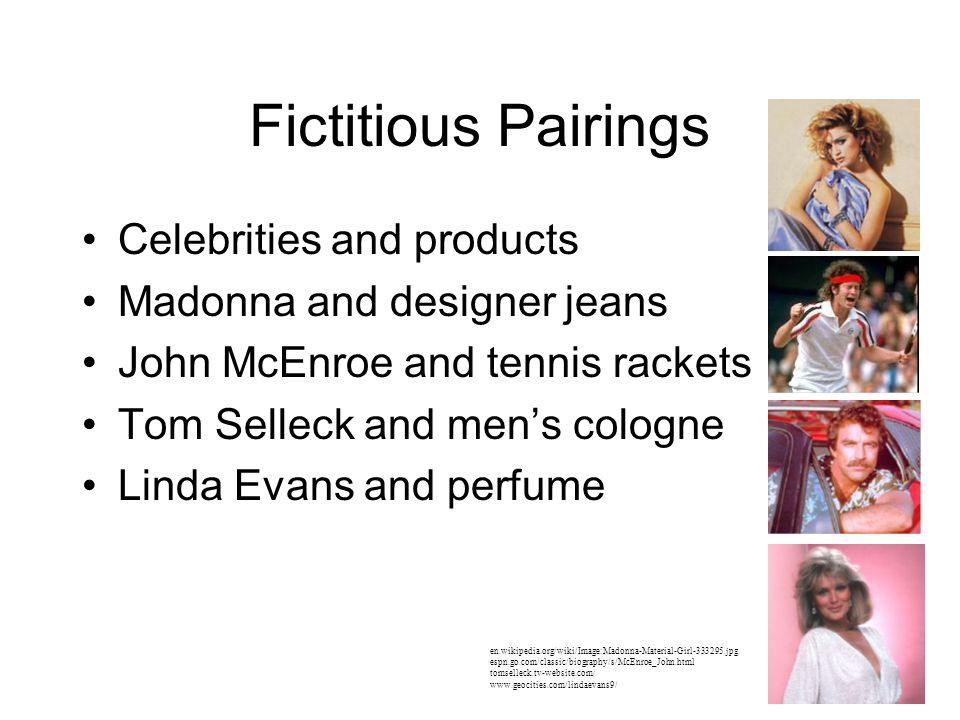 Fictitious Pairings Celebrities and products
