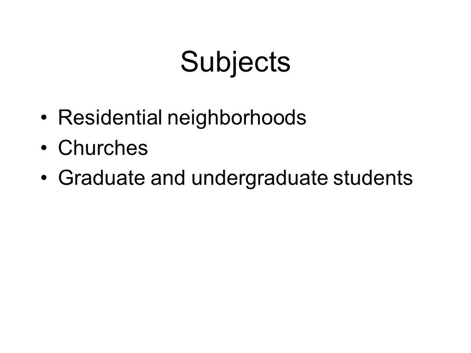 Subjects Residential neighborhoods Churches