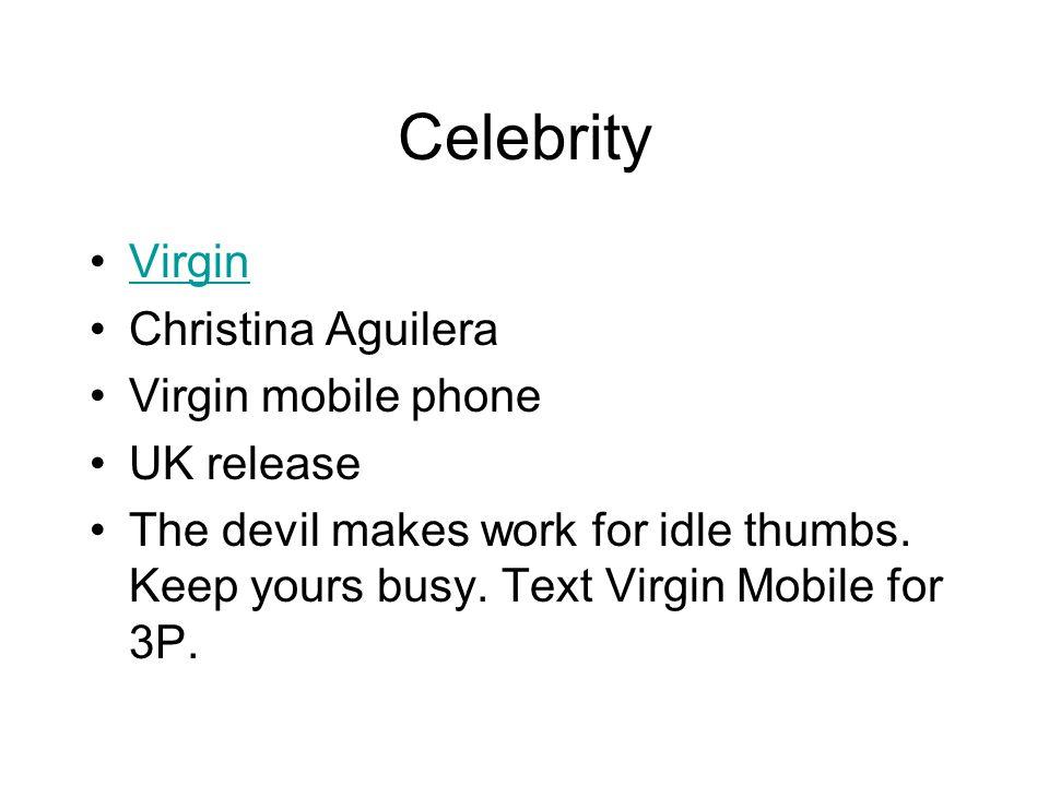 Celebrity Virgin Christina Aguilera Virgin mobile phone UK release