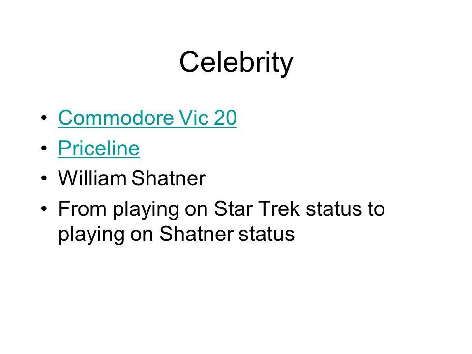 Celebrity Commodore Vic 20 Priceline William Shatner