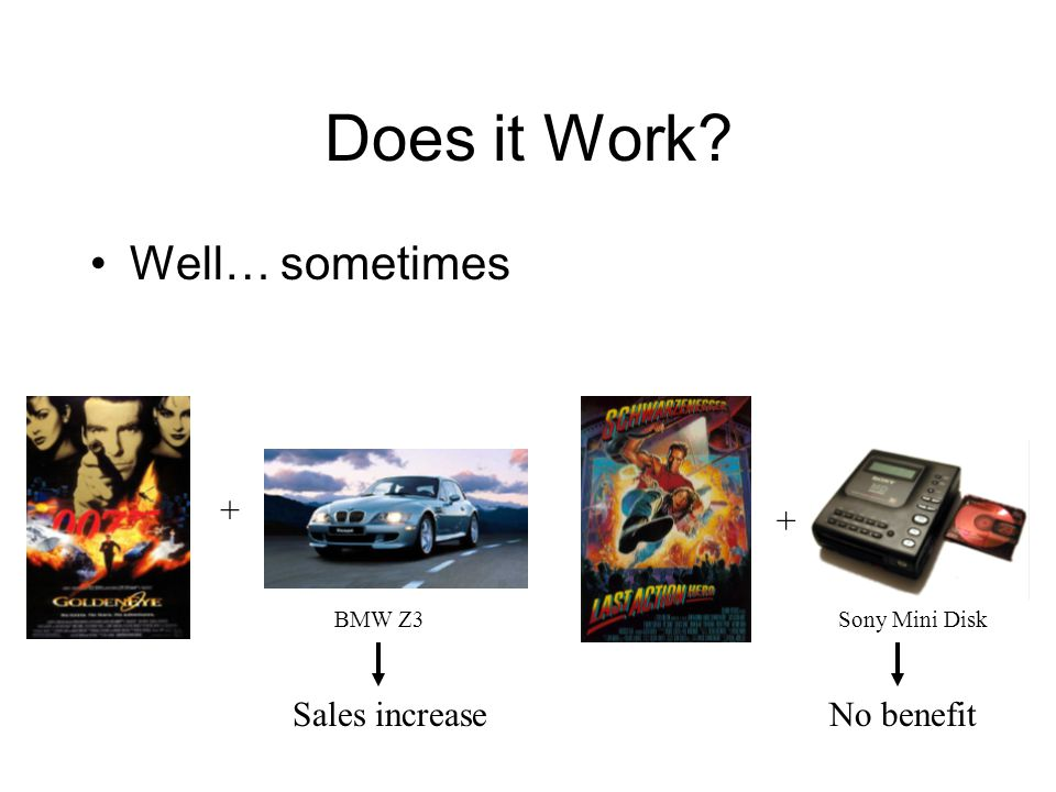 Does it Work Well… sometimes Sales increase + No benefit + BMW Z3