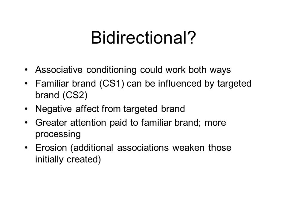 Bidirectional Associative conditioning could work both ways