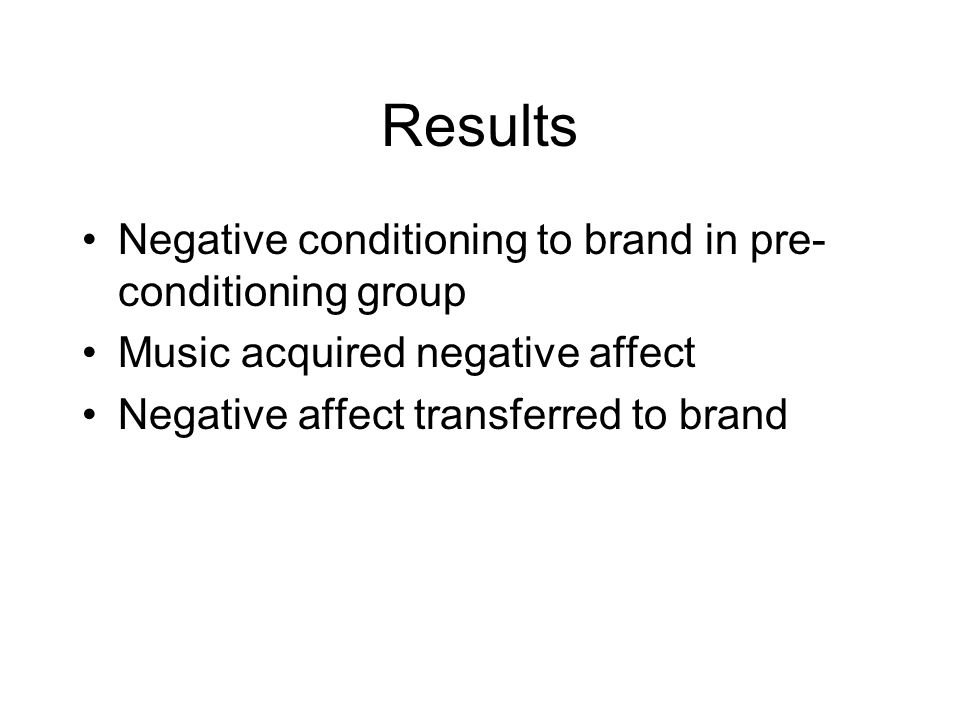 Results Negative conditioning to brand in pre-conditioning group
